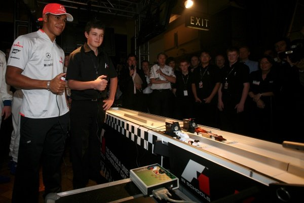 Lewis Hamilton (GBR) McLaren tries his hand at racing one of the competing machines.