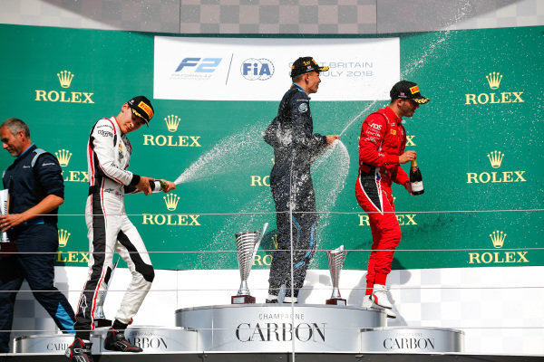 George Russell (GBR, ART Grand Prix). Alexander Albon (THA, DAMS). And Antonio Fuoco (ITA, Charouz Racing System).