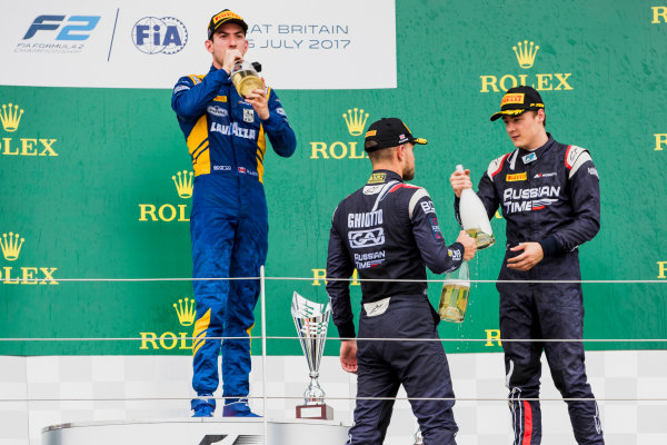 2017 FIA Formula 2 Round 6. Silverstone, Northamptonshire, UK. Sunday 16 July 2017. Luca Ghiotto (ITA, RUSSIAN TIME), Nicholas Latifi (CAN, DAMS), Artem Markelov (RUS, RUSSIAN TIME).  Photo: Zak Mauger/FIA Formula 2. ref: Digital Image _56I0817