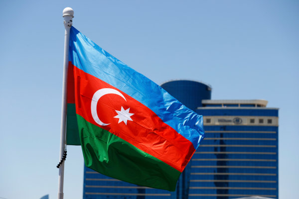 Baku City Circuit, Baku, Azerbaijan. Saturday 24 June 2017. An Azerbaijan flag flies in front of the Hilton Hotel. World Copyright: Steven Tee/LAT Images ref: Digital Image _R3I2655