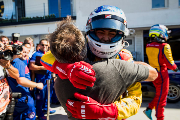 2017 GP3 Series Round 4.  Hungaroring, Budapest, Hungary. Sunday 30 July 2017. Giuliano Alesi (FRA, Trident), with father, Jean Alesi. Photo: Zak Mauger/GP3 Series Media Service. ref: Digital Image _56I4124
