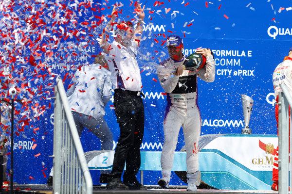 2016/2017 FIA Formula E Championship. Round 10 - New York City ePrix, Brooklyn, New York, USA. Sunday 16 July 2017. Sam Bird (GBR), DS Virgin Racing, Spark-Citroen, Virgin DSV-02, celebrates on the podium after winning the race. Photo: Alastair Staley/LAT/Formula E ref: Digital Image _R3I1743