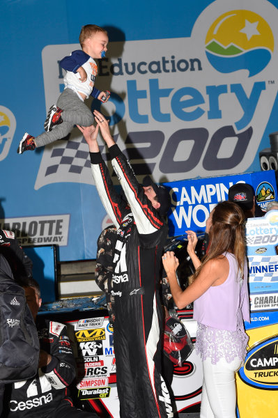 NASCAR Camping World Truck Series North Carolina Education Lottery 200 Charlotte Motor Speedway, Concord, NC USA Friday 19 May 2017 Kyle Busch, Cessna Toyota Tundra celebrates his win in Victory Lane World Copyright: Nigel Kinrade LAT Images ref: Digital Image 17CLT1nk04925