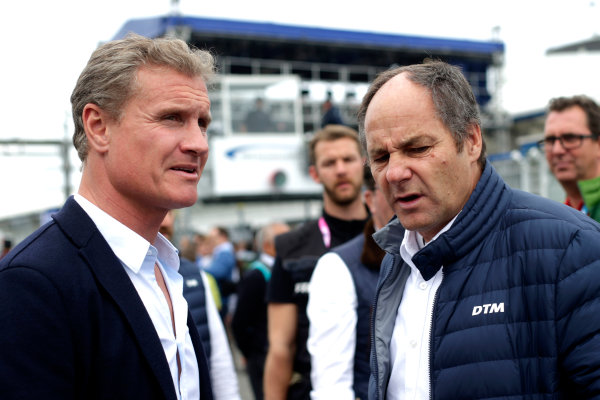 2017 DTM Round 1 Hockenheim, Germany. Saturday 6 May 2017. David Coulthard, Gerhard Berger, ITR Chairman World Copyright: Alexander Trienitz/LAT Images ref: Digital Image 2017-DTM-R1-HH-AT2-0607