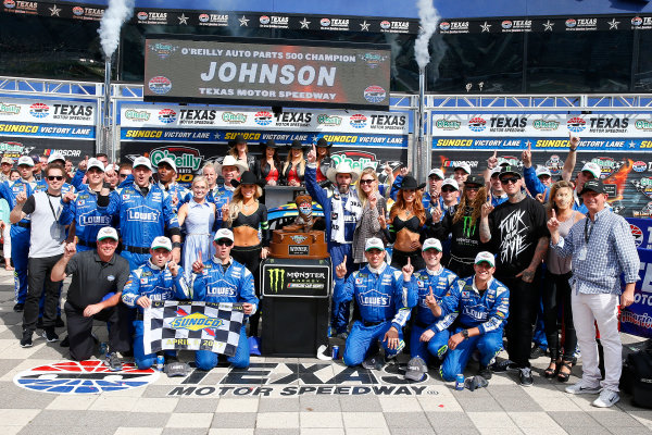 2017 Monster Energy NASCAR Cup Series O'Reilly Auto Parts 500 Texas Motor Speedway, Fort Worth, TX USA Sunday 9 April 2017 Jimmie Johnson celebrates in victory lane  World Copyright: Russell LaBounty/LAT Images ref: Digital Image 17TEX1rl_5263