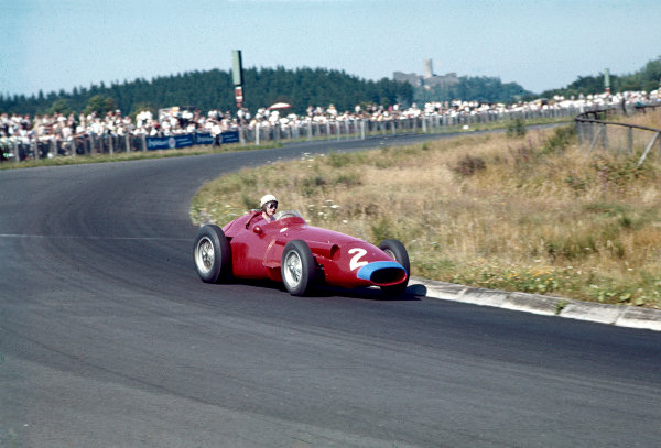 1957 German Grand Prix.Nurburgring, Germany.2-4 August 1957.Jean Behra (Maserati 250F) 6th position.Ref-57 GER 12.World Copyright - LAT Photographic
