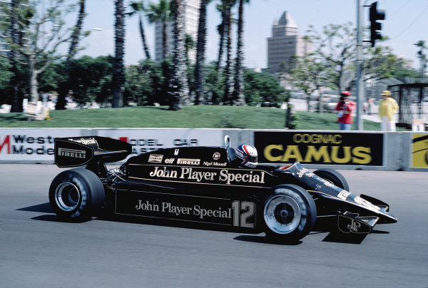 1983 United States Grand Prix West.Long Beach, California, USA.25-27 March 1983.Nigel Mansell (Lotus 92 Ford) 12th position.Ref-83 LB 45.World Copyright - LAT Photographic