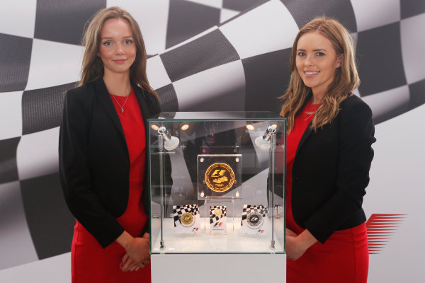 Silverstone, Northamptonshire, UK Friday 8 July 2016. Rosland Capital launch their unique, limited collection of gold and silver F1 coins, celebrating the history the FIA Formula One World Championship. A special edition 1/4oz British GP Gold Coin is announced, as well as the introduction of their 1kg F1 Gold Coin -  one of only 15 to be made this year. In addition, they are also launching two other F1 coins: a 2.5oz Silver Coin and 2.5oz Gold Coin. World Copyright: FerraroLAT Photographic ref: Digital Image _FER0163