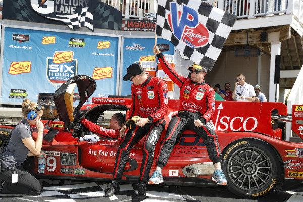#99 JDC/Miller Motorsports ORECA 07, P: Stephen Simpson, Mikhail Goikhberg, Chris Miller celebrate in Victory Lane, podium