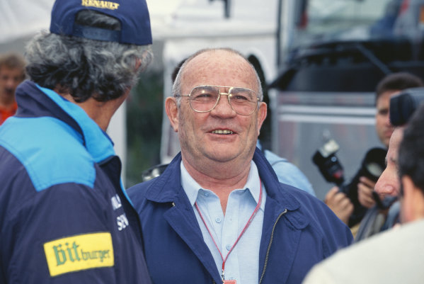 1995 Spanish Grand Prix. Barcelona, Spain. 12th - 14th May 1995. Guy Ligier chats to Flavio Briatore and Jean Todt in the paddock, portrait.  World Copyright: LAT Photographic.