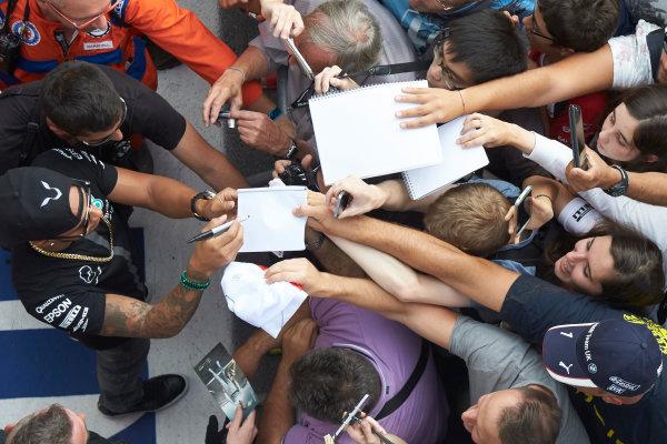 Autodromo Nazionale di Monza, Monza, Italy. Thursday 3 September 2015. Lewis Hamilton, Mercedes AMG, signs autographs for fans. World Copyright: Steve Etherington/LAT Photographic ref: Digital Image SNE23433