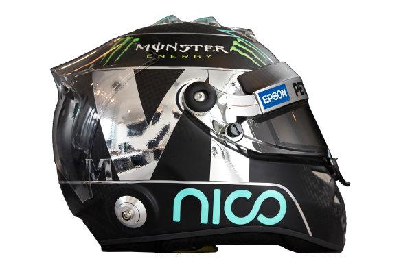 Circuit de Catalunya, Barcelona, Spain. Wednesday 25 February 2015. Helmet of Nico Rosberg, Mercedes AMG.  World Copyright: Mercedes AMG F1 (Copyright Free FOR EDITORIAL USE ONLY) ref: Digital Image 2015_MERCEDES_HELMET_08