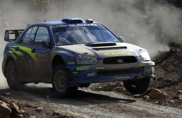 Petter Solberg (NOR) / Phil Mills (GBR) Subaru Impreza WRC 2004 finished 4th after a 5 minute penalty.World Rally Championship, Rd3, Rally Mexico, Leon, Mexico. Day Three. 14 March 2004.DIGITAL IMAGE