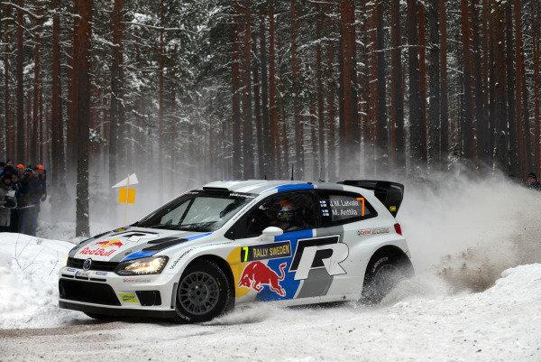 Jari-Matti Latvala (FIN) and Miikka Anttila (FIN), VW Polo WRC, on stage 14. FIA World Rally Championship, Rd2, Rally Sweden, Karlstad, Sweden, Day Two, Saturday 9 February 2013.