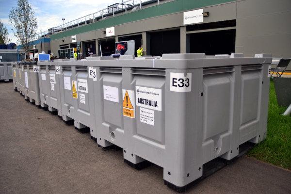 Williams F1 Team freight.Formula One World Championship, Rd1, Australian Grand Prix, Preparations, Albert Park, Melbourne, Australia, Monday 11 March 2013.