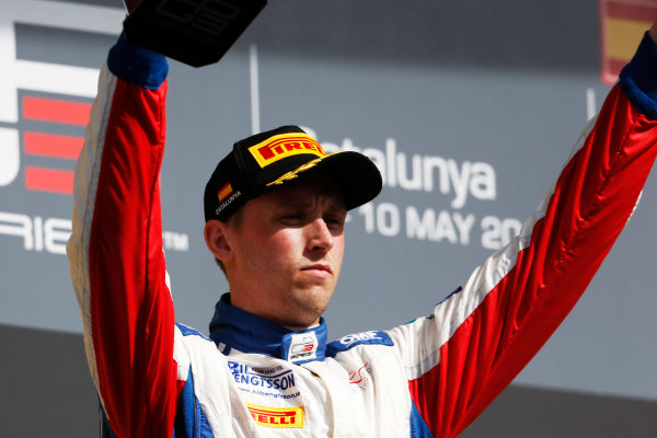 2015 GP3 Series Round 1. Circuit de Catalunya, Barcelona, Spain. Sunday 10 May 2015. Podium. Jimmy Eriksson (SWE, Koiranen GP). Photo: Zak Mauger/GP3 Series Media Service. ref: Digital Image _L0U5380