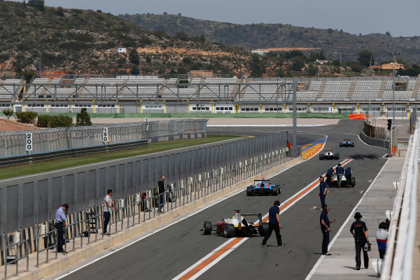 2015 GP3 Series Test 2 - Circuit Ricardo Tormo, Valencia, Spain. Friday 10 April 2015. cars leave the pit lane Photo: Sam Bloxham/GP3 Series Media Service. ref: Digital Image _SBL5306