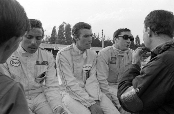 Jim Clark, Chris Irwin and Jackie Stewart.
