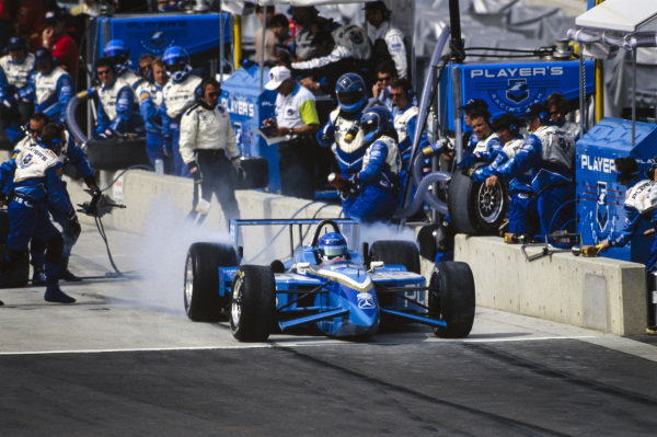 Greg Moore, Forsythe Racing, Reynard 98i Mercedes, leaves the pits following a pitstop.
