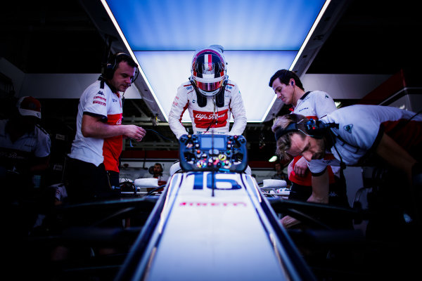 Charles Leclerc, Sauber, settles into his seat