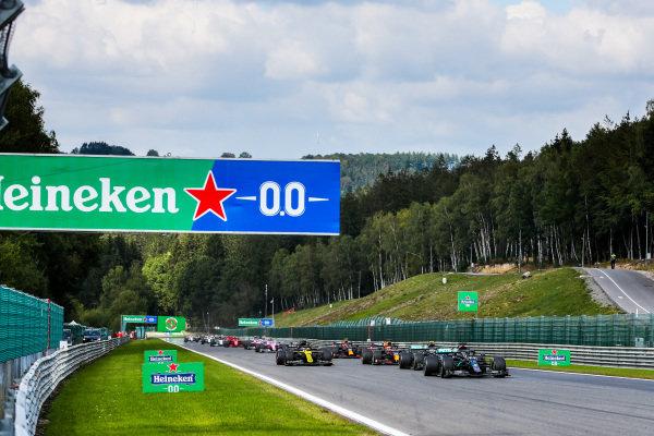 Lewis Hamilton, Mercedes F1 W11 EQ Performance leads Valtteri Bottas, Mercedes F1 W11 EQ Performance and Max Verstappen, Red Bull Racing RB16