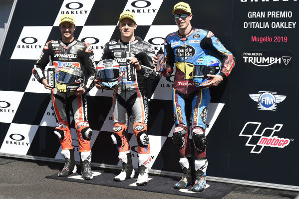 Pole sitter Marcel Schrotter, Intact GP, second place Thomas Luthi, Intact GP, third place Alex Marquez, Marc VDS Racing.