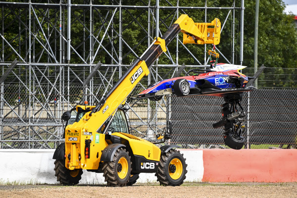 Car of Oliver Caldwell (GBR, TRIDENT) being recovered