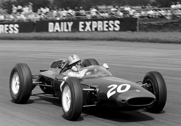 Legendary motorcycle rider Mike Hailwood (GBR) Lotus 24 finished eighth on his Grand Prix debut. British Grand Prix, Silverstone, 20 July 1963.