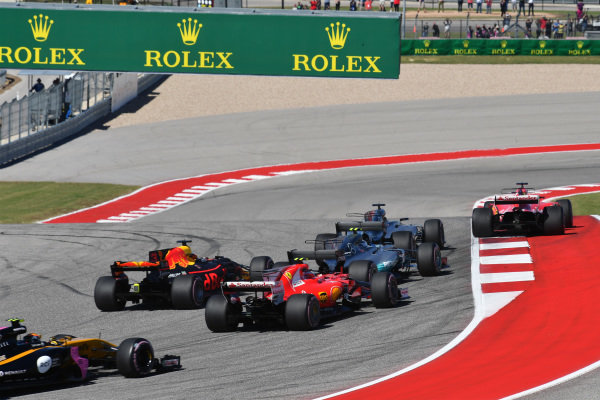 The start of the race at Formula One World Championship, Rd17, United States Grand Prix, Race, Circuit of the Americas, Austin, Texas, USA, Sunday 22 October 2017.