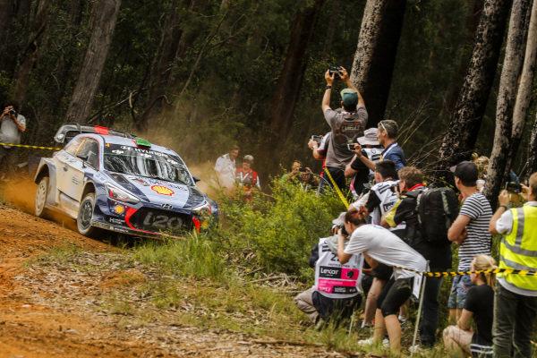 Hayden Paddon (NZL) / Sebastian Marshall (GBR), Hyundai Motorsport i20 Coupe WRC at World Rally Championship, Rd13, Rally Australia, Day One, Coffs Harbour, New South Wales, Australia, 17 November 2017.