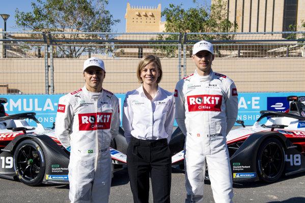 Felipe Massa (BRA), Venturi, EQ Silver Arrow 01, Susie Wolff, Team Principal, Venturi and Edoardo Mortara (CHE) Venturi, EQ Silver Arrow 01