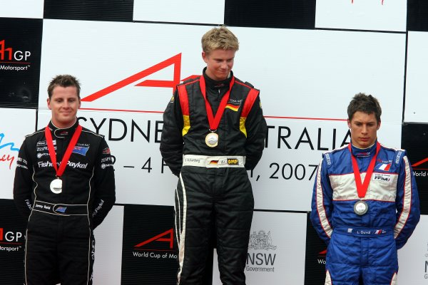 04.02 2007 Eastern Creek, Australia, Sprint Race Podium, Jonny Reid, Driver of A1Team New Zealand, Nico Hülkenberg, Driver of A1Team Germany and Loic Duval, Driver of A1Team France  - A1GP World Cup of Motorsport 2006/07, Round 7, Eastern Creek, Sunday Race 1 - Copyright A1GP - Free for editorial usage