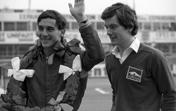 (L to R): Race winner Ayrton Senna (BRA) Rushen Green Racing and Jonathan Palmer (GBR).British Formula Ford 2000 Championship, 28 March, Silverstone, England, 1982.
