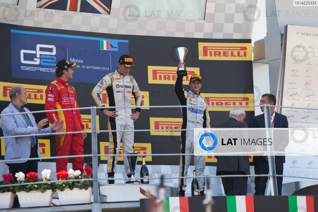 2014 GP2 Series. Round 9.   Autodromo di Monza, Monza, Italy. Sunday 7 September 2014. Stefano Coletti (MON, Racing Engineering), Jolyon Palmer (GBR, DAMS) and Stephane Richelmi (MON, DAMS). Photo: Zak Mauger/GP2 Series Media Service. ref: Digital Image IMG_9610