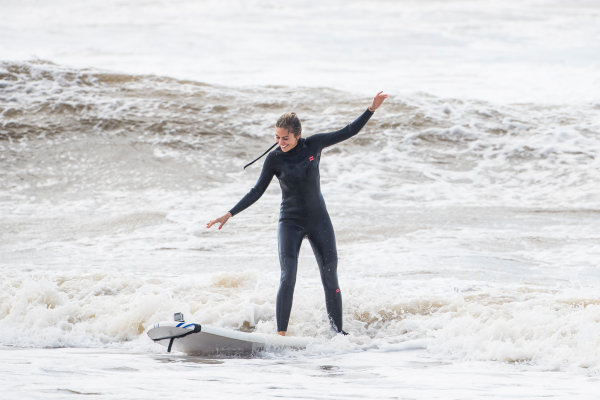 Nicki Shields goes surfing