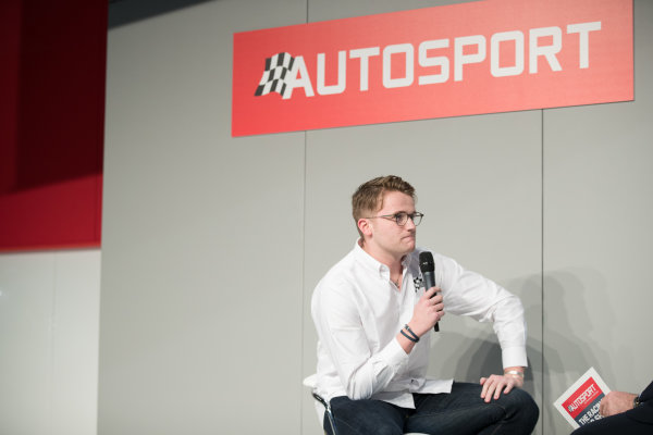 Autosport International Exhibition. National Exhibition Centre, Birmingham, UK. Friday 12th January 2017. Gus Greensmith, British Rally Junior Champion on the Autosport stage with Henry Hope-Frost.World Copyright: Ashleigh Hartwell/LAT Images ref: Digital Image _O3I8629
