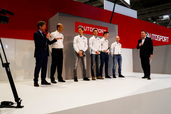 Autosport International Exhibition. National Exhibition Centre, Birmingham, UK. Thursday 11th January 2018. The Ford WRC team, including Sebastien Ogier, Malcolm Wilson and Elfyn Evans, meet Henry Hope-Frost on the Autosport Stage. World Copyright: Ashleigh Hartwell/LAT Images Ref: _O3I8085