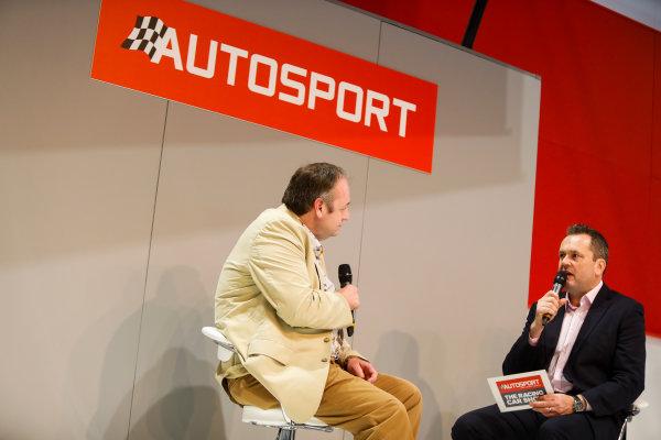 Autosport International Exhibition. National Exhibition Centre, Birmingham, UK. Thursday 11th January 2017. Bruce Wood of Cosworth talks to Henry-Hope Frost on the Autosport stage,World Copyright: Joe Portlock/LAT Images Ref: _U9I9879