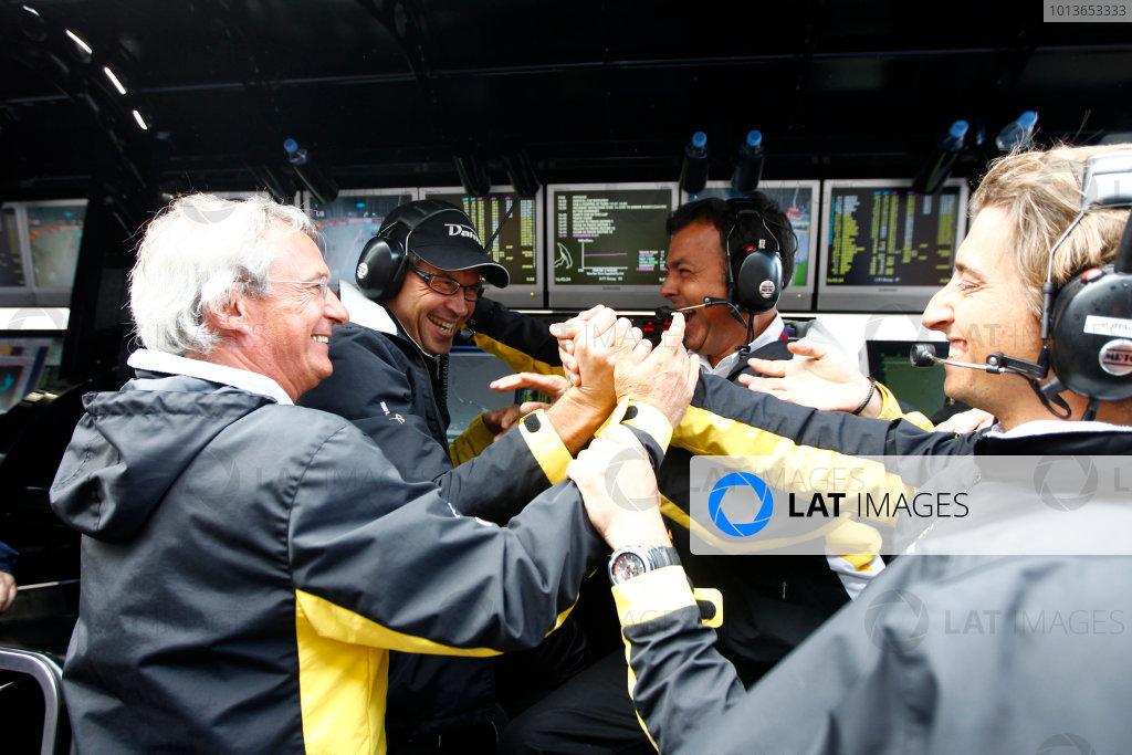 Spa - Francorchamps, Spa, Belgium. 27th August. Saturday Race. The Dams team celebrate Romain Grosjean (FRA, Dams) winning the 2011 GP2 Series title. Photo: Glenn Dunbar/GP2 Media Service. Ref: _G7C2463 jpg