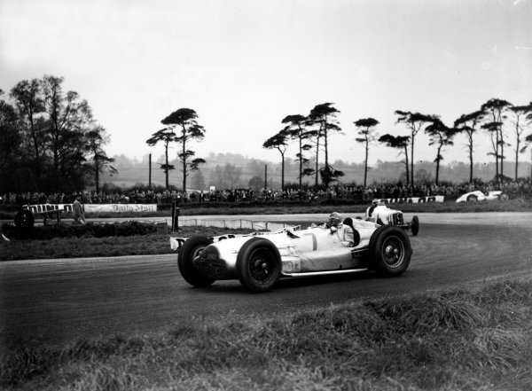 Donington Park, Great Britain. 22 October 1938.Hermann Lang (Mercedes-Benz W154), 2nd position, leads Arthur Dobson (ERA B), 6th position, action. World Copyright: LAT Photographic.Ref:  38DONRF