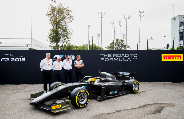 Autodromo Nazionale di Monza, Monza, Italy. Thursday 31 August 2017. The new F2 car is unveiled in the paddock. Photo: Zak Mauger/FIA Formula 2. ref: Digital Image _56I5247