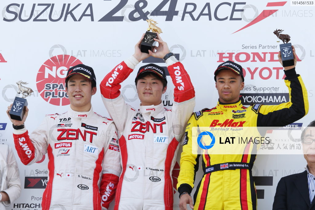 2016 Japanese Formula 3 Championship. Suzuka, Japan. 23rd - 24th April 2016. Rd 1 & 2. Rd. 2 Winner Kenta Yamashita ( #36 ZENT TOM'S F312 ) 2nd position Sho Tsuboi ( #37 ZENT TOM'S F314 ) 3rd position Jann Mardenborough ( #22 B-MAX NDDP F3 ) podium, portrait.  World Copyright: Masahide Kamio / LAT Photographic. Ref: 2016JF3_Rd1&2_11