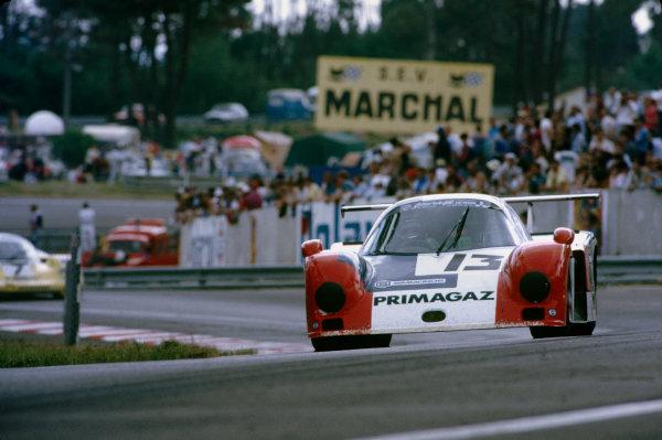 Le Mans, France. 15th -16th  June 1985.Yves Courage/Alain de Cadenet/Jean-Franois Yvon (Cougar C12 Porsche), 20th position, action. World Copyright: LAT Photographic.Ref:  85LM33
