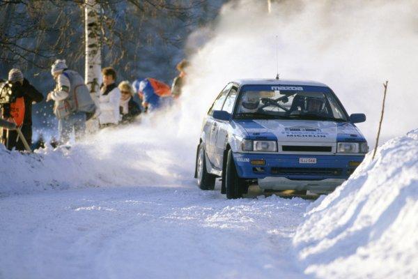 1987 World Rally Championship.Swedish Rally, Sweden. 13-14 February 1987.Timo Salonen/Seppo Harjanne (Mazda 323 4WD), 1st position.World Copyright: LAT PhotographicRef: 35mm transparency 87RALLY02