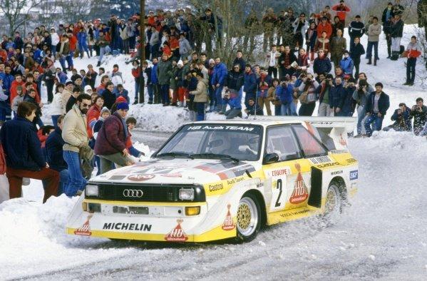 1986 World Rally Championship.Monte Carlo Rally, Monaco. 18-24 January 1986.Walter Rohrl/Christian Geistdorfer (Audi Sport Quattro E2), 4th position.World Copyright: LAT PhotographicRef: 35mm transparency 86RALLY22
