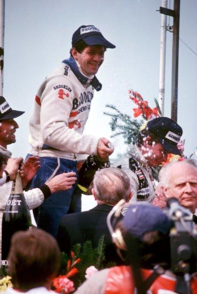 The podium (L to R): Jacques Laffite (FRA) Ligier, second; Jody Scheckter (RSA) Ferrari, winner; Didier Pironi (FRA) Tyrrell, third. Belgian Grand Prix, Rd 6, Zolder, Belgium, 13 May 1979. BEST IMAGE