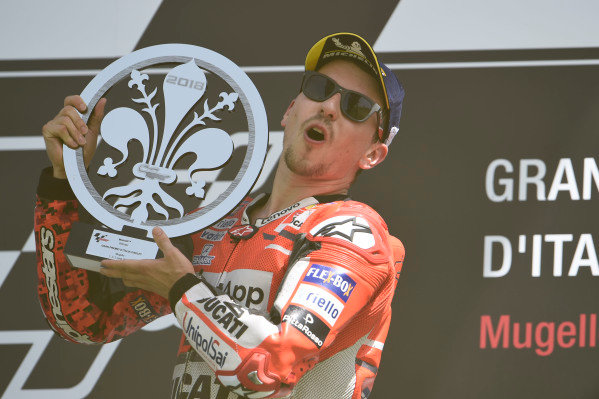 Podium: race winner Jorge Lorenzo, Ducati Team.