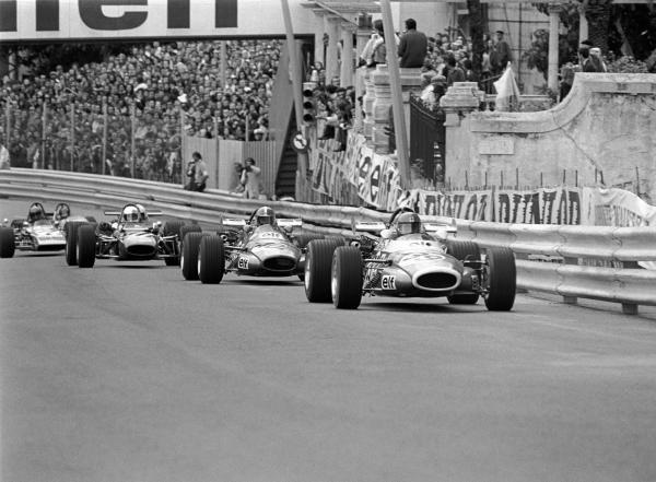 Patrick Depailler(FRA) Alpine F3, leads team mate Jean Pierre Jabouille(FRA), Alpine F3,  F3 Support race Monaco GP, 23 May 1971