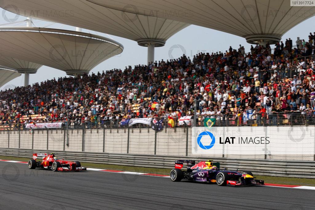 Shanghai International Circuit, Shanghai, China Sunday 14th April 2013 Mark Webber, Red Bull RB9 Renault, leads Felipe Massa, Ferrari F138.  World Copyright: Charles Coates/LAT Photographic ref: Digital Image _N7T6487