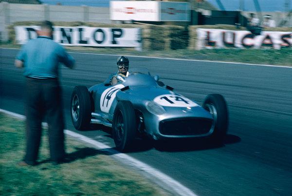 1955 British Grand Prix.Aintree, England.14-16 July 1955.Karl Kling (Mercedes-Benz W196) 3rd position.Ref-55 GB 05.World Copyright - LAT Photographic